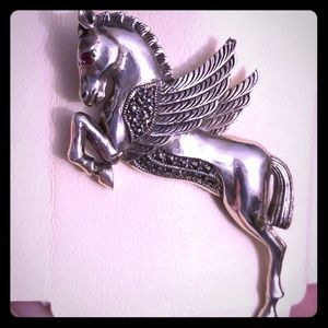 Vintage - Sterling Silver Pegasus Pin with Ruby 👁